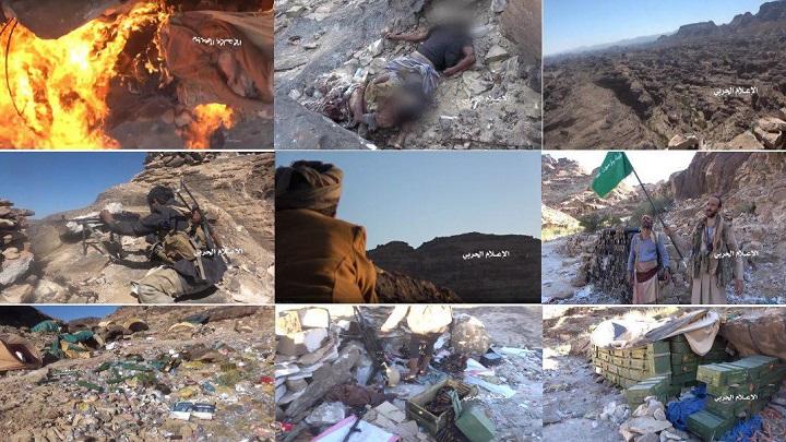 شاهد.. الجيش اليمني واللجان الشعبية يسيطرون على مساحات واسعة في عسير (فيديو)